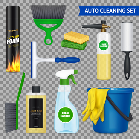 Auto cleaning realistic set with gloves bucket liquid soap foam car wash brushes transparent background vector illustration Illustration