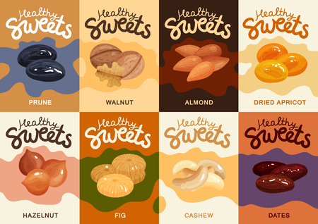 Flat set of colorful cards with different nuts and dried fruits isolated vector illustration