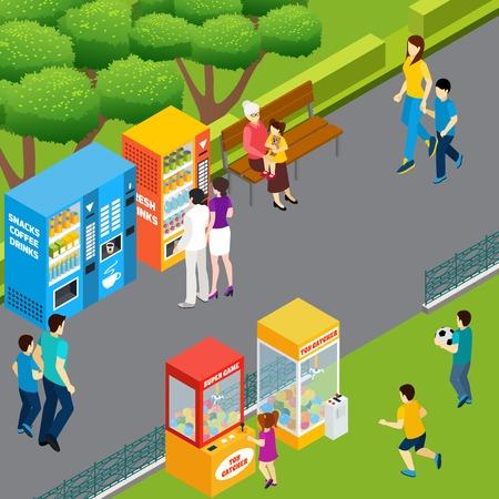 Adulti e bambini che utilizzano distributori automatici e raccoglitori di giocattoli che camminano e giocano nell'illustrazione vettoriale isometrica del parco 3d