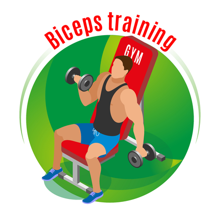 Athlete with dumbbells on sport bench during biceps training on green round background isometric vector illustration Illustration