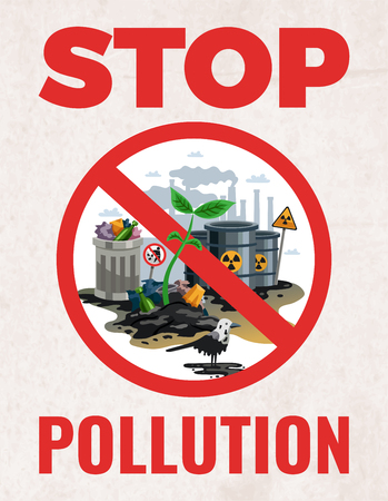 Stop pollution sign ecological awareness poster with save earth protect planet environmental alert symbols flat vector illustration Ilustracja