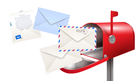 Composizione realistica delle lettere della cassetta postale con le immagini della cassetta delle lettere classica e delle buste di carta per l'illustrazione vettoriale delle lettere