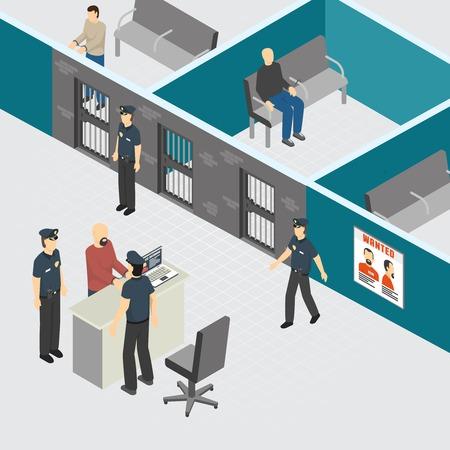 Composición isométrica interior de la sección de prisión de detención provisional preventiva del departamento de policía con guardias de oficiales arrestados ilustración vectorial Foto de archivo - 109270221
