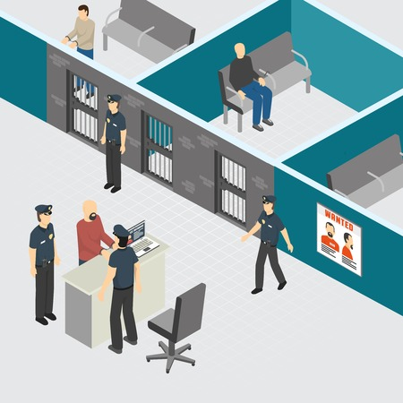 Police department pretrial provisional detention prison section interior isometric composition with officers guards arrested criminals vector illustration Ilustração