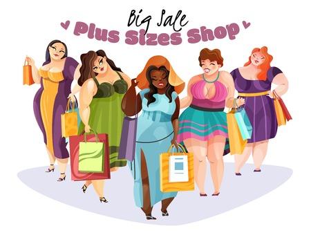 Mujeres regordetas felices con compras después de comprar tallas grandes con ilustración de vector plano de gran venta