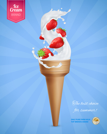 Ice cream realistic advertising composition with icecream cornet and strawberry berries with editable text and logo vector illustration Foto de archivo - 109486762