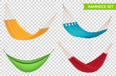 Various types 4 colorful hanging hammocks set with red yellow blue green fabric transparent background vector illustration