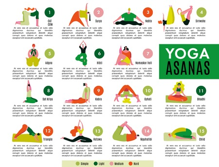 Flat infographics with description and picture of various simple and hard yoga asanas vector illustration