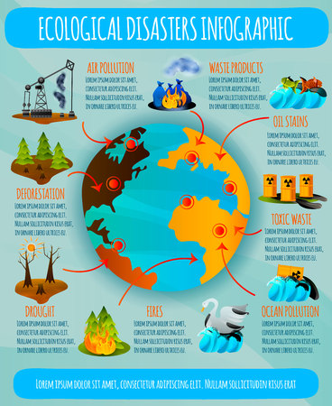 Ecological problems flat infographics with earth planet and environmental disasters on blue background vector illustration Vettoriali