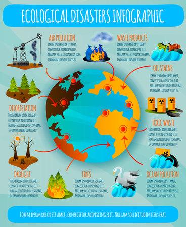 Ecologische problemen vlakke infographics met aardeplaneet en milieurampen op blauwe vectorillustratie als achtergrond Vector Illustratie