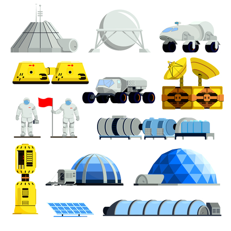 Spacemen with flag and equipment for planet colonization set of flat icons isolated vector illustration