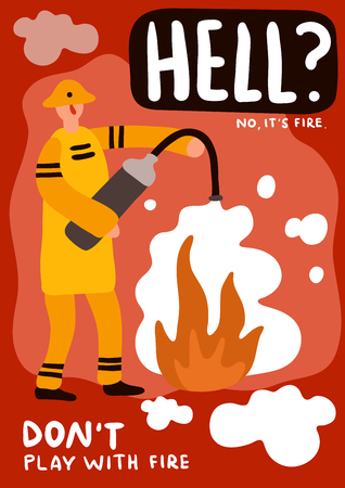 Fireman with extinguisher during fire fighting poster on red background flat vector illustration Иллюстрация