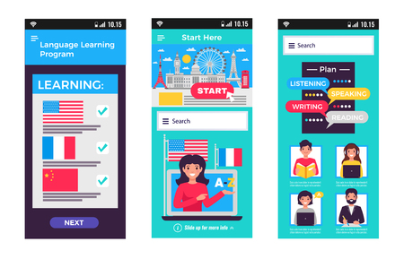 Language training program mobile apps extending learning everywhere you go 3 full screen flat images vector illustration