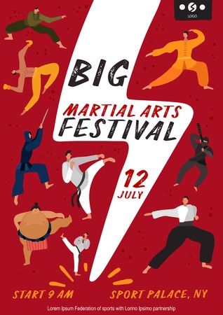 Martial arts festival poster with fighters on red background with white lightning flat vector illustration