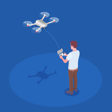 Man piloting quadcopter drone with hand held transmitter remote controlling flight isometric composition blue background vector illustration