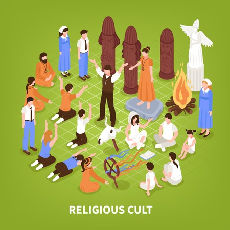 Isometric religious cult background composition of human characters of people practising different religions and fringe groups vector illustration Çizim