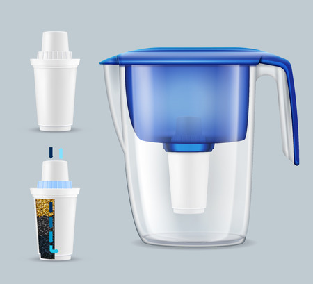 House tap water filter pitcher with 2 removing toxins and contaminants replacement units realistic set vector illustration