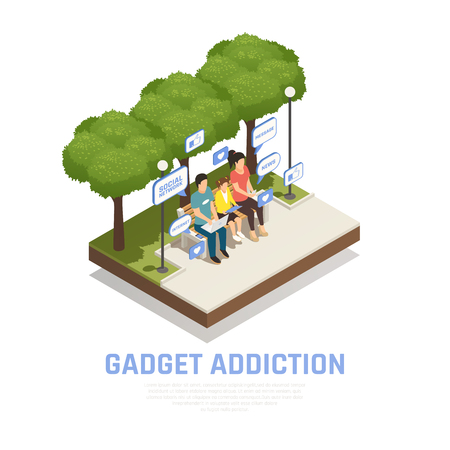 Internet smartphone gadget addiction isometric composition with outdoor scenery images and family with thought bubble pictograms vector illustration