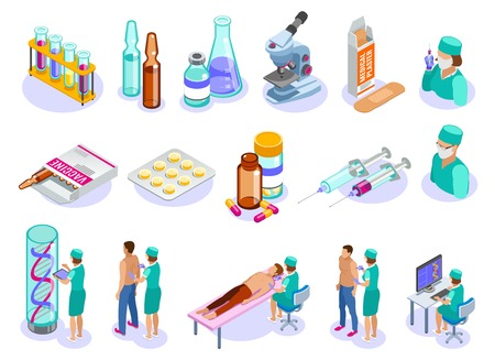 Set of isolated vaccination isometric icons with human characters of medical professionals patients and pharmaceutical drugs vector illustration