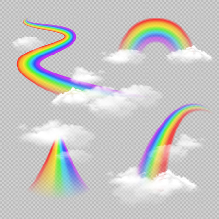 Bright colored rainbow realistic transparent set isolated vector illustration Иллюстрация