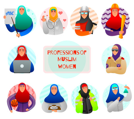 Set of flat icons professions of muslim women teacher doctor military builder and scientist isolated vector illustration Vettoriali