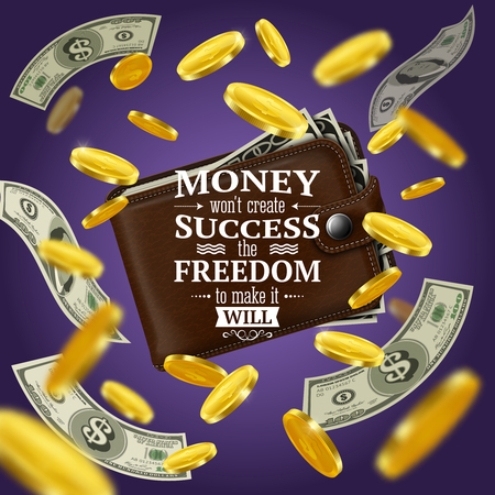 Money and success quotes with motivating words and freedom symvols realistic vector illustration
