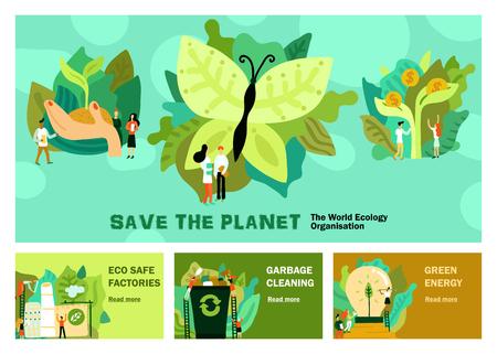 Ensemble de restauration environnementale de bannières horizontales avec nettoyage des ordures énergie verte eco usine sûre isolée illustration vectorielle