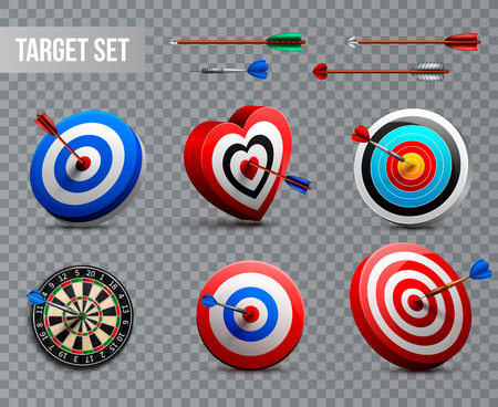Realistic target icon set with different shapes and styles on transparent background vector illustration