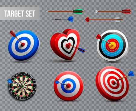 Set di icone di destinazione realistiche con diverse forme e stili su sfondo trasparente illustrazione vettoriale
