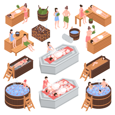 Set of isometric bath house elements and human characters during body cleaning procedure isolated vector illustration