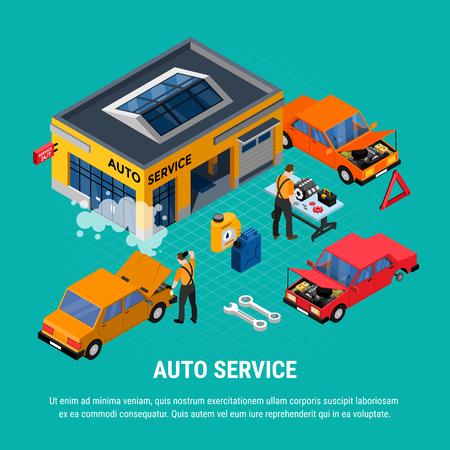 Auto service isometric concept with diagnostics and equipment symbols vector illustration