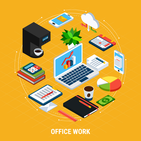 Business people isometric circle composition of isolated images and icons with accounting office machines and equipment vector illustration