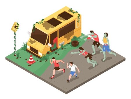 Isometric zombie apocalypse composition with group of zombies pursueing healthy people in front of broken car vector illustration Illustration