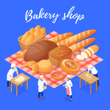 Bakery shop composition with flour products and staff during work on blue background isometric vector illustration Illustration