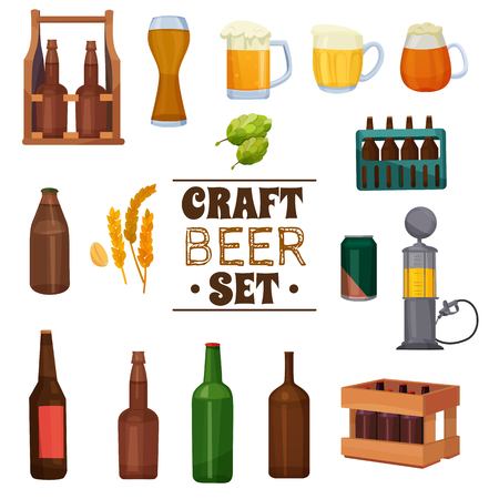 Craft beer set with plant ingredients for brewing, mugs with foam, various packaging isolated vector illustration