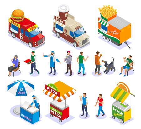 Street food carts and vehicles sellers and customers set of isometric icons isolated vector illustration
