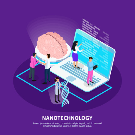 Scientists and development of nano technology for medicine on purple gradient background isometric vector illustration Illustration