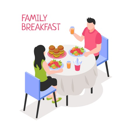 Daily family breakfast man and woman during morning meal at table on white background isometric vector illustration