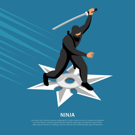 Unbeatable ninja warrior character in action pose on silver star symbol isometric blue background poster Illustration