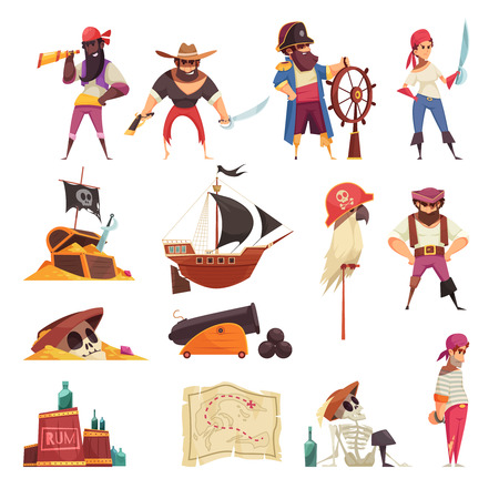 Ensemble de pirate d'icônes isolées avec des images de dessins animés de cartes de navires et de symboles squelettes avec des gens