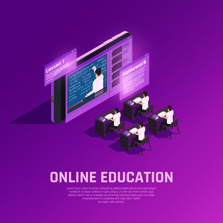 Online education glow isometric composition with conceptual images of futuristic classroom with students and teacher on screen