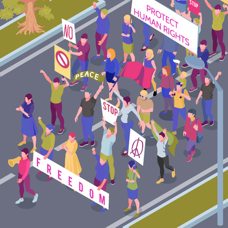 Protesting people with placards and flags during street procession in protection human rights isometric vector illustration