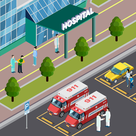 Medical equipment isometric composition with outdoor view of hospital entrance and parking lot with ambulance cars vector illustration