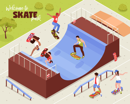 Isometric skateboard composition with outdoor scenery with people riding longboards on quarter pipe and roller beams vector illustration