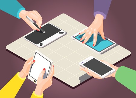 Isometric background with four pairs of female hands using different gadgets 3d vector illustration