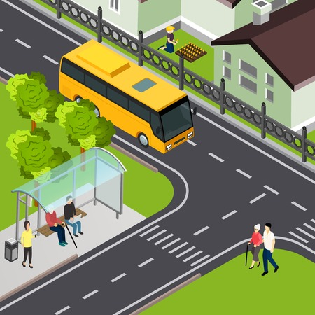 Pensioner waiting public transport and elderly lady with attendant arriving to crosswalk isometric vector illustration