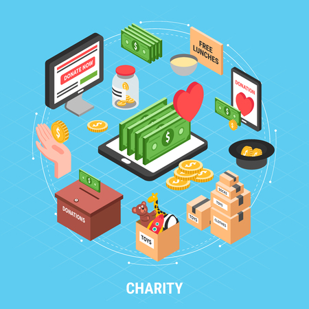 Charity isometric design concept with dollar bills carton of clothes and box for collecting donations vector illustration Stock Illustratie