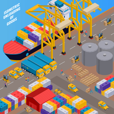 Delivery and unloading of goods process from cargo ship 3d isometric vector illustration