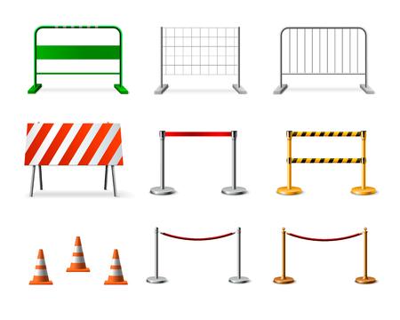 L'icona realistica della barriera di recinzione temporanea ha impostato con varie forme di colori e illustrazione di vettore di scopi