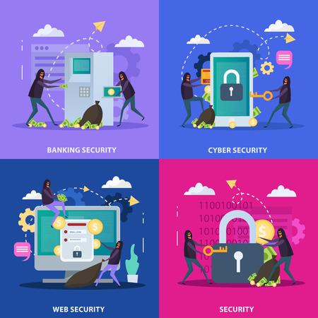 Protección de concepto de diseño plano de seguridad cibernética de equipos bancarios y servicios web aislados ilustración vectorial